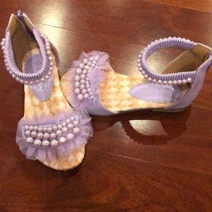 Girls lilac purple sandals buckle shoes